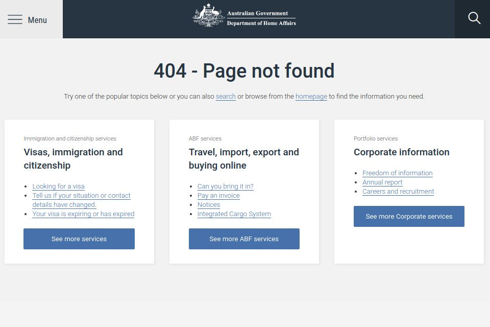 Australian Department of Home Affairs website